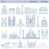 Línea sistema del ejemplo del vector Señales de la ciudad libre illustration