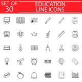 Línea sistema del icono, colección de la educación de la muestra de la escuela stock de ilustración