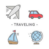 Línea sistema del icono del color que viaja Fotos de archivo libres de regalías
