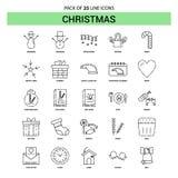 Línea sistema del icono - estilo rayado de la Navidad del esquema 25 stock de ilustración