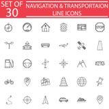 Línea sistema del icono, muestras de la navegación del transporte libre illustration