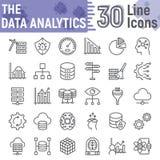 Línea sistema del icono, símbolos del analytics de los datos de la base de datos stock de ilustración