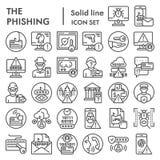 Línea sistema del icono, símbolos cibernéticos colección, bosquejos del vector, ejemplos del phishing del crimen del logotipo, co ilustración del vector