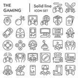 Línea sistema del icono, símbolos colección, bosquejos del vector, ejemplos del logotipo, muestras del juego de los videojuegos d stock de ilustración