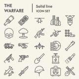 Línea sistema del icono, símbolos colección, bosquejos del vector, ejemplos del logotipo, paquete linear de la guerra del ejércit