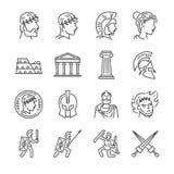 Línea sistema del imperio romano del icono Incluyó los iconos como soldado, columna, coliseo, santuario, emperador y más stock de ilustración