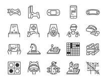 Línea sistema del juego y del entretenimiento del icono Incluyó los iconos como juego de mesa, juego de arcada, consola, tiroteo, stock de ilustración