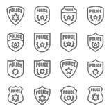 Línea sistema del vector de la insignia de la policía del icono Contiene los iconos tales como sheriff, militar, el escudo y más  stock de ilustración