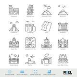 Línea sistema del vector del icono El mundo ve iconos lineares relacionados Viejos símbolos de las señales, pictogramas, muestras libre illustration