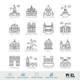 Línea sistema del vector del icono El mundo ve iconos lineares relacionados Viejos símbolos de las señales, pictogramas, muestras stock de ilustración
