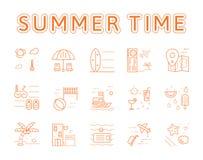 Línea sistema del verano del concepto del ejemplo de los iconos stock de ilustración