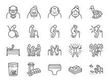 Línea sistema del viejo hombre del icono Iconos incluidos como una más vieja gente, el envejecimiento, sano, mayor, vida y más stock de ilustración