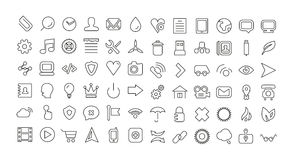 Línea sistema del web del icono. Iconos finos universales Imágenes de archivo libres de regalías