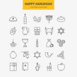 Línea sistema grande de los iconos felices judíos de Jánuca stock de ilustración