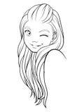 Línea sonriente de la muchacha Fotografía de archivo libre de regalías