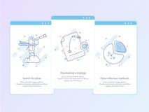 Línea superior icono de la calidad y concepto Onboarding determinado: Busque para las ideas, desarrollando una estrategia, los mé foto de archivo
