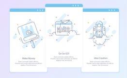 Línea superior icono y concepto de la calidad fijados: El proceso, empieza para arriba El viaje, Rocket, hace el dinero fotografía de archivo libre de regalías