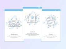 Línea superior icono y concepto de la calidad fijados: Gestión, contenido, reacción, comentario, emoción Línea concepto del logot imágenes de archivo libres de regalías