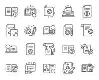 Línea técnica iconos de la documentación Sistema de la instrucción, del plan y del manual Vector ilustración del vector