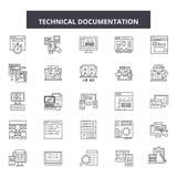 Línea técnica iconos, muestras, sistema del vector, concepto linear, ejemplo de la documentación del esquema ilustración del vector