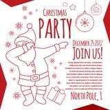 Línea tarjeta de fiesta de Navidad del aviador del arte con la tipografía, el frotar divertido de Papá Noel ilustración del vector