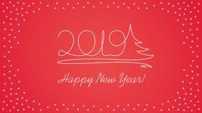 2019 línea texto del arte - tarjeta del Año Nuevo stock de ilustración