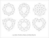 Línea ultra fina elegante sistema del logotipo de los iconos de los diamantes Ilustración del vector Imagenes de archivo