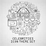 línea universal de los iconos de la película de las celebridades libre illustration