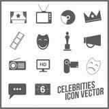 línea universal de los iconos de la película de las celebridades stock de ilustración