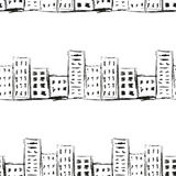 Línea urbana dibujo de imitación de la tinta del paisaje en un modelo inconsútil del fondo blanco Fotos de archivo libres de regalías