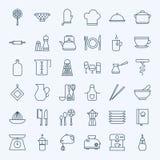 Línea utensilios de cocinar e iconos del artículos de cocina fijados Imagenes de archivo