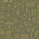 Línea utensilios de jardinería del icono del modelo verdes olivas Fotos de archivo