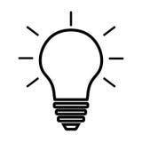 Línea vector de la bombilla del icono aislado en el fondo blanco Muestra de la idea, solución, concepto de pensamiento Iluminació Imagen de archivo