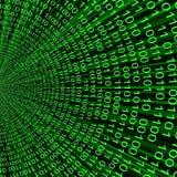Línea verde abstracta fondo del vector del código binario 3D de tecnologías de la información Foto de archivo