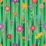 Línea vertical modelo inconsútil del estilo del insecto de la flor del verde de la pendiente stock de ilustración