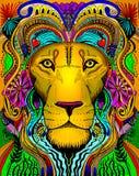 Línea vestido principal primitivo del león del arte Fotografía de archivo