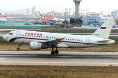 Líneas aéreas Airbus A319-111 de EI-EYM Rossiya Imagen de archivo