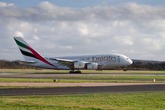 Líneas aéreas Airbus A380 de los emiratos Foto de archivo