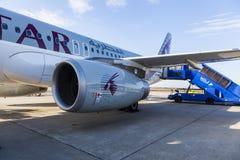 Líneas aéreas de Qatar Foto de archivo libre de regalías