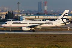 Líneas aéreas egeas Airbus A320 Imagen de archivo libre de regalías