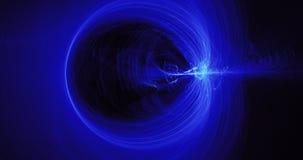 Líneas abstractas azules fondo de las partículas de las curvas Imagenes de archivo