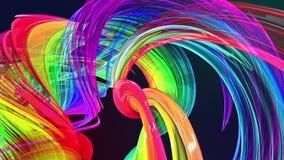 Líneas abstractas en el movimiento como fondo creativo inconsútil Las rayas coloridas tuercen en una formaci?n circular 3D coloca ilustración del vector