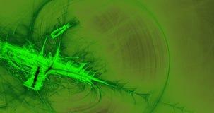Líneas abstractas verdes fondo de las partículas de las curvas Foto de archivo