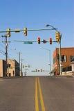 Líneas amarillas y luces rojas Imagen de archivo libre de regalías