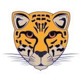 Líneas azules aisladas historieta principal animal de la fauna del leopardo ilustración del vector