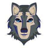 Líneas azules aisladas historieta principal animal de la fauna del lobo stock de ilustración
