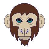 Líneas azules aisladas historieta principal animal de la fauna del mono ilustración del vector