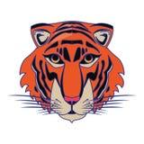 Líneas azules aisladas historieta principal animal de la fauna del tigre ilustración del vector