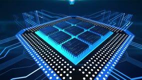 Líneas azules que se mueven a la placa de circuito del ordenador, CPU que procesa los datos, tecnología ilustración del vector