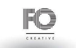 Líneas blancos y negros letra Logo Design de las FO F O Imagenes de archivo